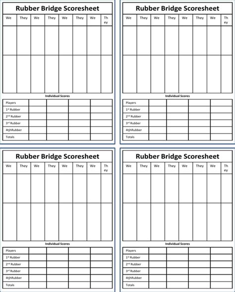 rubber bridge scoresheet   page
