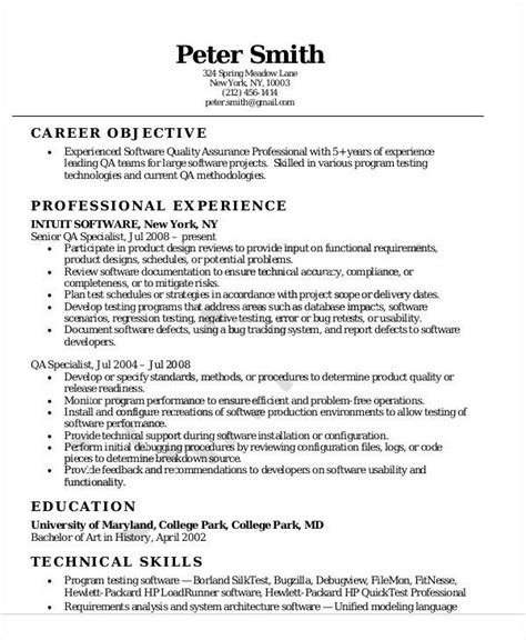 sample quality assurance resume templates  ms