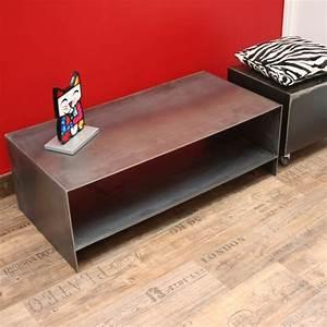 Meuble Tv 1m : meuble bas acier brut verni meuble industriel ~ Teatrodelosmanantiales.com Idées de Décoration