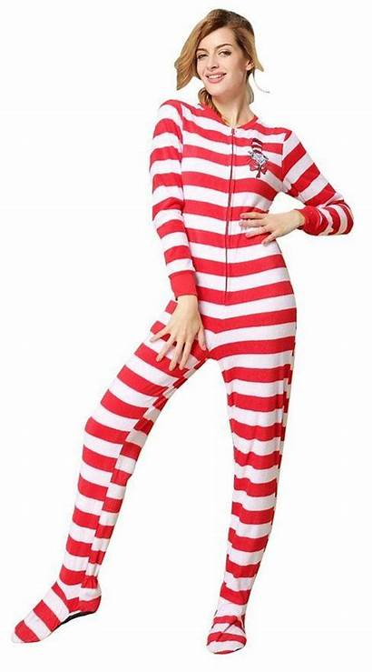 Pajamas Onesie Striped Womens Onesies Footed Pyjamas