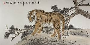 Large Chinese Tiger Painting - Mr. Wang's Charcoal Art ...