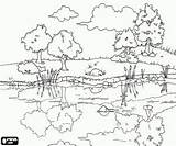 Coloring Pond Pages Clipart Landscape Scenic Drawing Adult Landscapes Clip Calm Printable Nature Waters Cliparts Adults Reflections Drawings Countryside Sheets sketch template