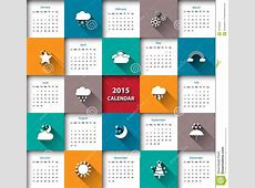 2015 Calendar Template With Weather IconVector