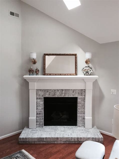 whitewashed  dark redorange brick fireplace benjamin
