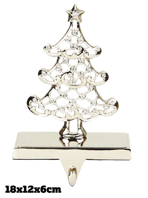 silver stocking holder christmas decoration fireplace
