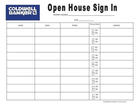 Coldwell Banker Open House Sign In Sheet By Richagent On