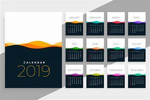 Monthly Calendar November 2020 Printable 2019 Calendar Template With Colorful Waves Download Free