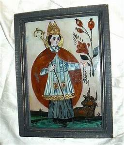 Old Reverse Painting On Glass Bavarian Religious Folk Art