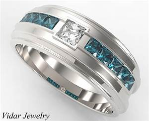 Princess cut diamond double matching wedding bands custom for Wedding band engagement ring order