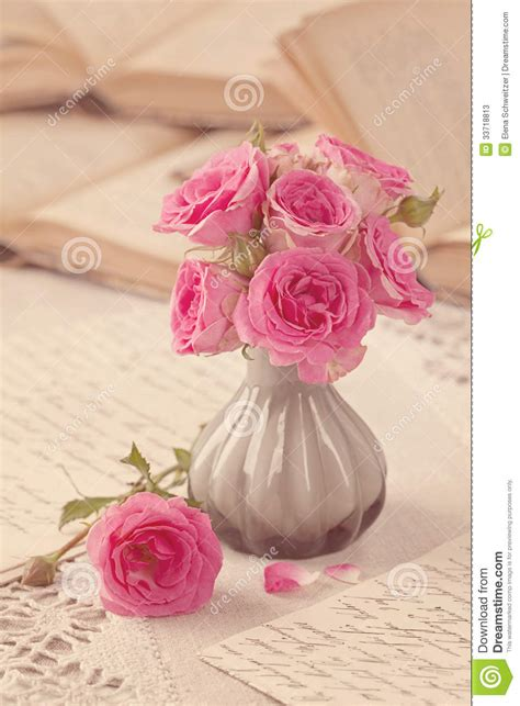 Pink Flowers, Letters And Books Stock Photos   Image: 33718813