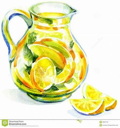 Lemonade Watercolor Jug Painting Mint Ice Background