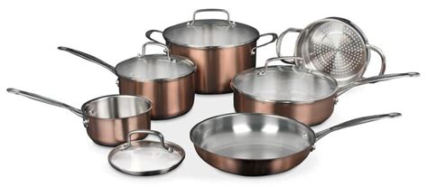 cuisinart classic collection  piece stainless colour series cookware set copper  brick