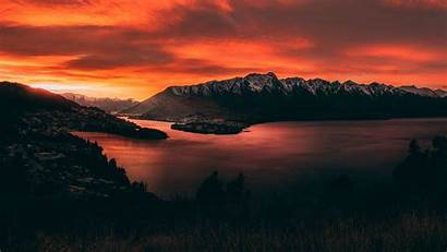 Sunset Lake Mountains Zealand Sky 4k Uhd