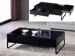 Table Basse Noir : table basse rectangle morio en mdf laqu noir 66638 ~ Teatrodelosmanantiales.com Idées de Décoration