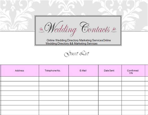 Wedding Table List Template by Wedding Guest List Template 6 Free Sle Exle
