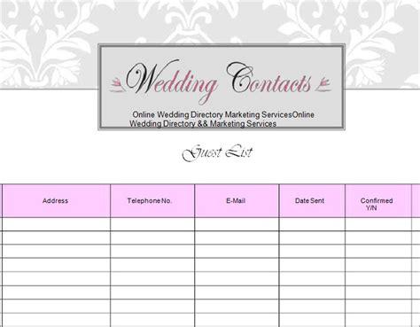 wedding guest list template   sample