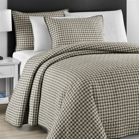 Quilted Coverlet Set by Checkered Gray White Jigsaw Quilted 3