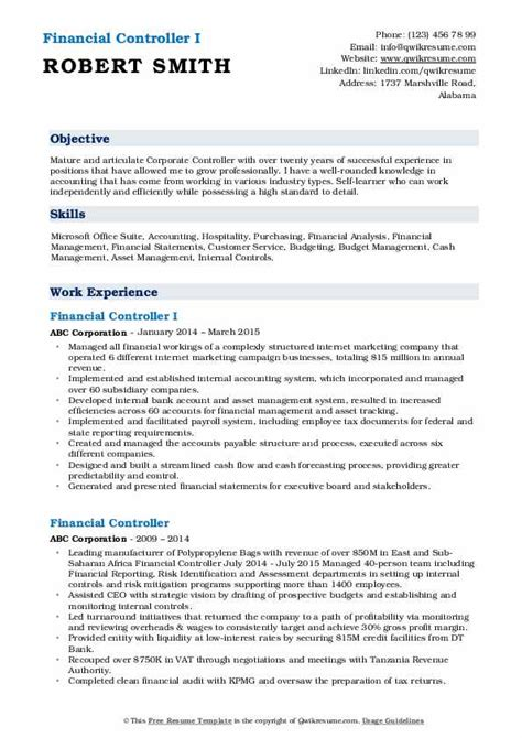 financial controller resume samples qwikresume