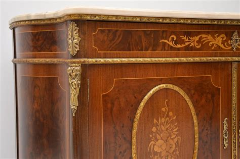 Antique Marble Top Sideboard by Antique Marble Top Sideboard With Marquetry Doors