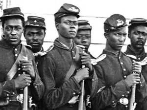 Image result for first black regiment left Boston to fight in the U.S. Civil War.