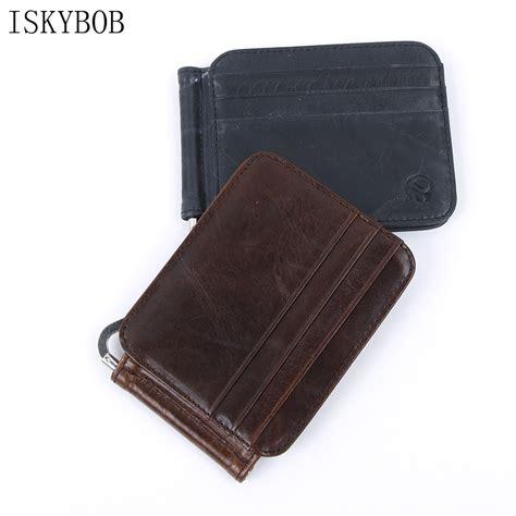 Credit card holder rfid blocking. ISKYBOB Hot Leather Slim Spring Money Clip Wallet Front Pocket Credit Card Case Holder-in Card ...