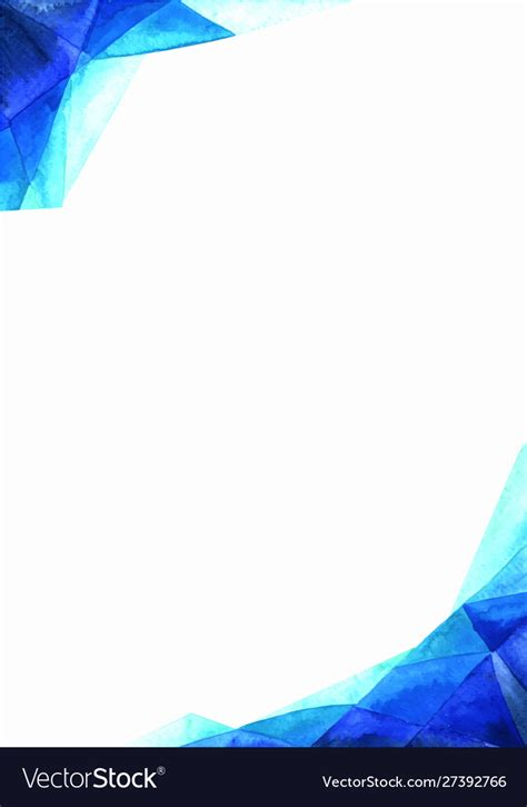 Abstract triangle blue border watercolor painting Vector Image