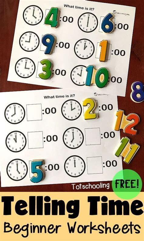 telling time preschool worksheets educational freebies