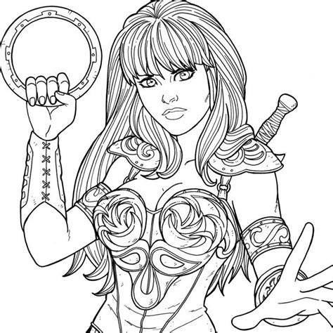 printable coloring pages xena superheroes