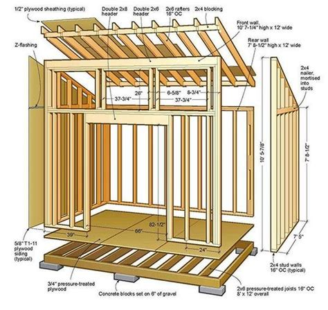 8x12 lean to shed plans 01 floor foundation wall frame carpentry foundation