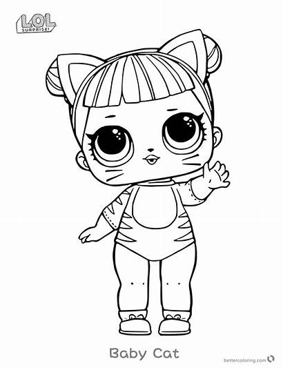 Lol Coloring Surprise Doll Pages Cat Dolls