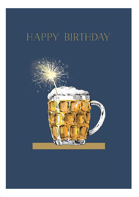 ling design  beer sparkler birthday card lnq