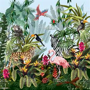 Border, With, Jungle, Animals, Flowers, And, Trees, Vector, Stock, Illustration, -, Download, Image, Now