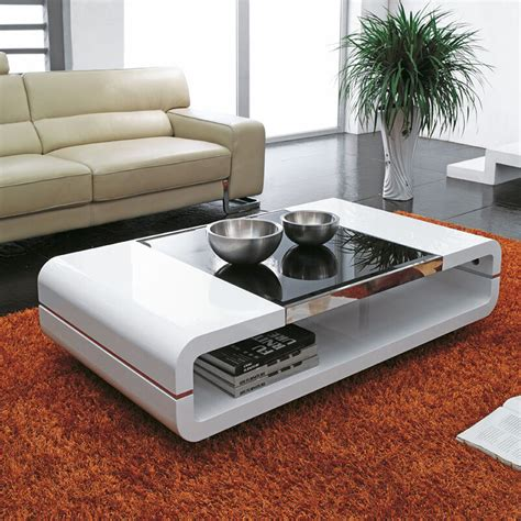 White Living Room Table Ls by Design Modern High Gloss White Coffee Table With Black