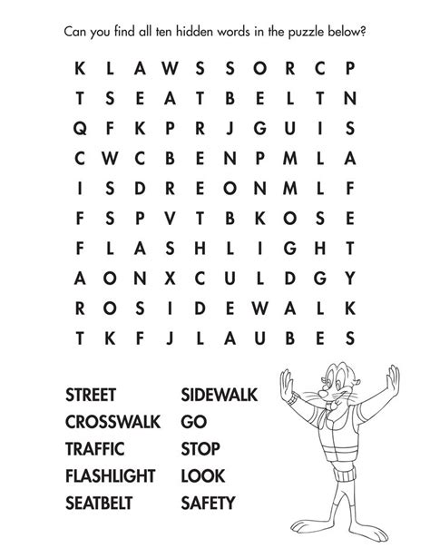find all of the street smarts words in this fun danger rangers word find streetsafety