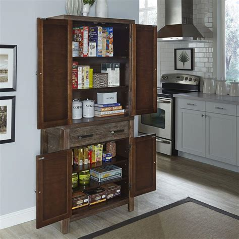 kitchen pantries cabinets home styles barnside weather aged food pantry 5516 65 2408