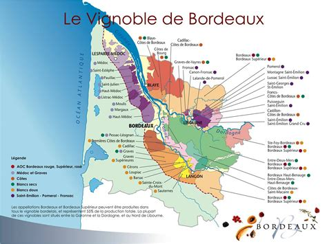 Carte Vin Aoc by Map Of The Appellations Aoc Bordeaux Courr 232 Ges Wines