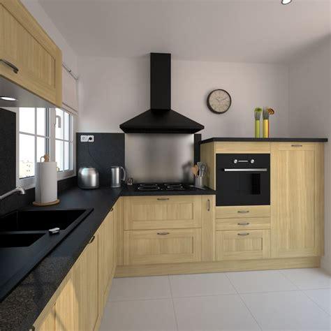 cuisine en l cuisine en bois brut de style classique