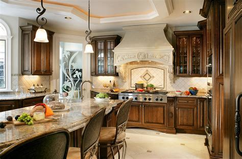 Kitchen with Stone Hood Focal Point   Traditional