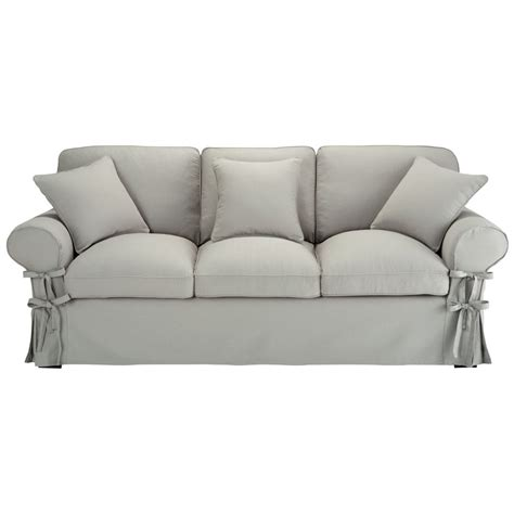 canape butterfly canapé convertible 3 places en coton gris clair butterfly