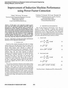 Pdf  Improvement Of Induction Machine Performance Using Power Factor Correction