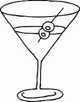 Martini Glass Line Clip Coloring Clipart Sweetclipart sketch template