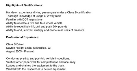 Class B Driver Resume by Driver Resumes Class B Driver Resume Sle