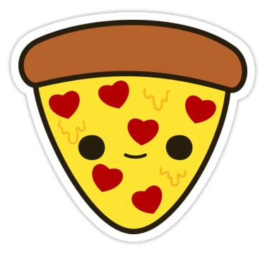 """""""cute Pizza With Heart Toppings"""" Stickers By"""