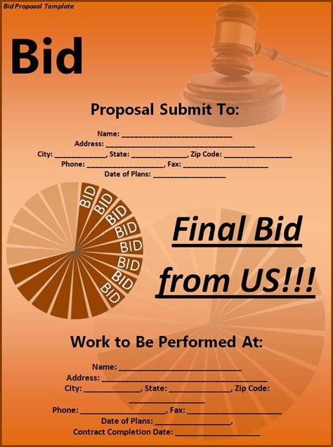 bid proposal template  printable ms word format