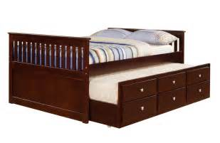 donco cappuccino captains bed with trundle and drawers kfs stores