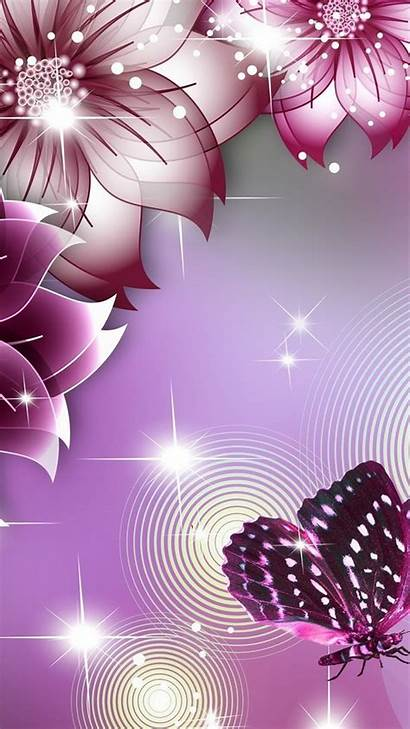 Cellphone Butterfly Purple Wallpapers Flower Mobile Beauties