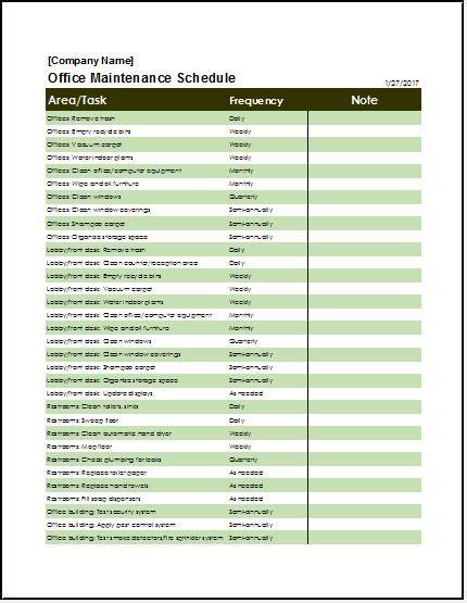 office maintenance checklist templates microsoft word