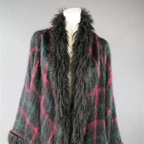jean louis scherrer size xl black pink and teal plaid fur trim cardigan coat at 1stdibs