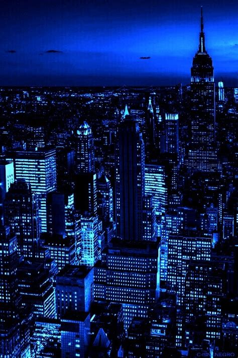 aesthetic blue city in the ny wallpaper