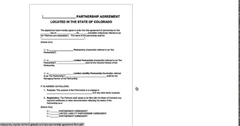 Free Colorado Partnership Agreement Template